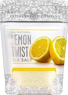 SaltWorks Natural Fusion Lemon Twist Flavored Sea Salt, Artisan Zip-Top Pouch, 3.5 Ounce