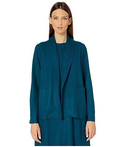 Eileen Fisher Boiled Wool Jersey Short Kimono Jacket (Blue Spruce) Women