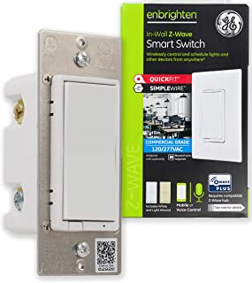 GE Enbrighten Z-Wave Plus Smart Light Switch, QuickFit & SimpleWire, Commercial 120/277VAC, Works with Alexa, Google Assis...