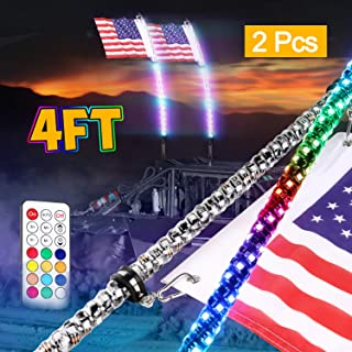 Wayup 2Pcs 4ft LED Whip Lights with Remote Control Spiral Lighted Whips RGB Dancing/Chasing Light LED Antenna Whips for UTV ATV Polaris RZR Jeep Truck 4X4 SXS Buggy Dune