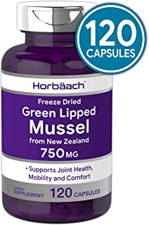 Horbaach Green Lipped Mussel 750 mg 120 Capsules   from New Zealand   Premium Freeze Dried Mussel Powder   Non-GMO and Gluten Free