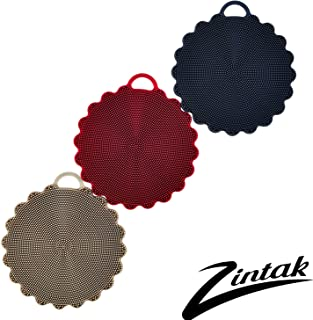 Silicone Scrubber | Loofah | Sponge | Body Scrubber | Easy to Clean | Multipurpose for Kitchen Bathroom Cleaning Brush | 3 Pack Rustic Colors by Zintak