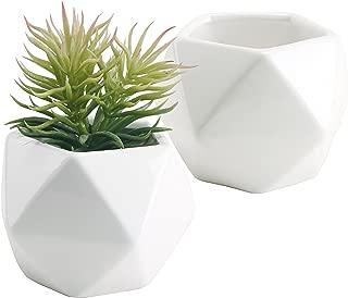 Set of 2 White Ceramic Geometric Design Mini Succulent Planter Pots, 5-Inches