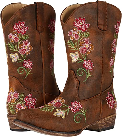 Brown Faux Leather Vamp/Floral Embroidery