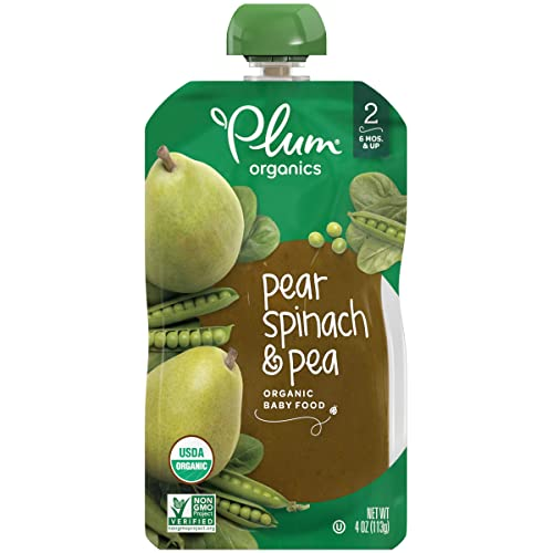 Plum Organics Stage 2, Organic Baby Food, Pear, Spinach and Pea, 4 Ounce pouches (Pack of 12)