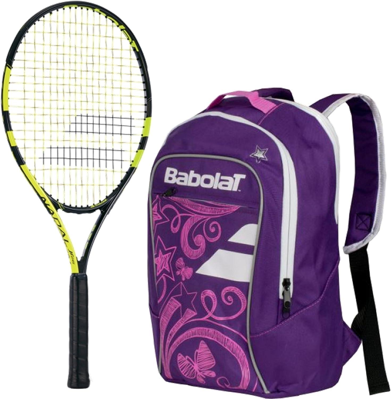 Babolat Nadal Junior 70cm Tennis Racquet (Yellow Black) Bundled with Girl's Club Tennis Backpack (Purple)