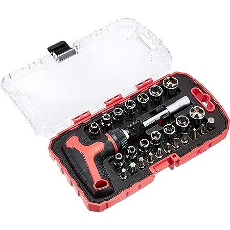Amazon Basics Juego de destornillador y llave de carraca en T, magnético, 27 piezas