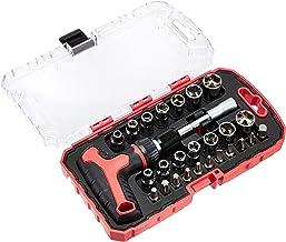 AmazonBasics 27-częściowy magnetyczny zestaw kluczy zapadkowych z uchwytem T i śrubokrętem