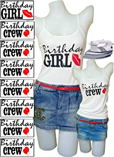 PrinturShirt Birthday Squad Shirts for Women Set - Birthday Team Group Shirts - Iron On Heat Transfer Vinyl, 8pcs, 4 by 9 Inch, Black and Red - Easy To Use, Savings