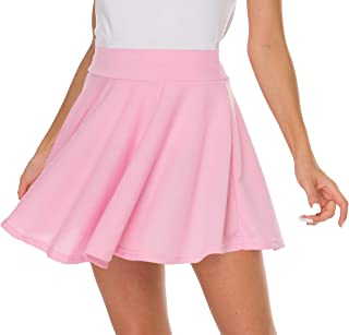 Basic Stretchy Solid Flared Casual Mini Pleated Skater Skirt