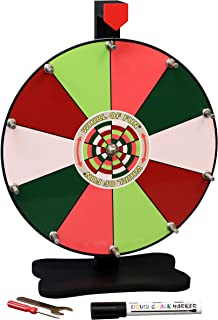 Whirl of Fun Spinning Prize Wheel 12 Inch-Tabletop with Stand, 10 Color Slots, Customize Erasable Whiteboard Surface, Summer Fruit Colors, Portable, Tools Included, Made in USA
