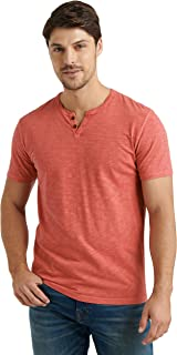 Lucky Brand Men's Short Sleeve Notch Neck Slub Tee Shirt