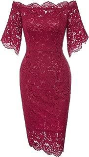 Women's Vintage Floral Lace Off Shoulder Short Sleeve Pencil Dress