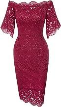 GRACE KARIN Women's Vintage Floral Lace Off Shoulder Short Sleeve Pencil Dress