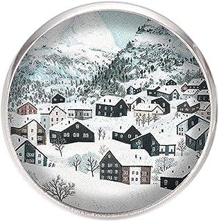 Spilla con perno in acciaio inossidabile, diametro 25 mm, spillo 0,7 mm, Fatto a Mano, Illustrazione Paesaggio invernale 3