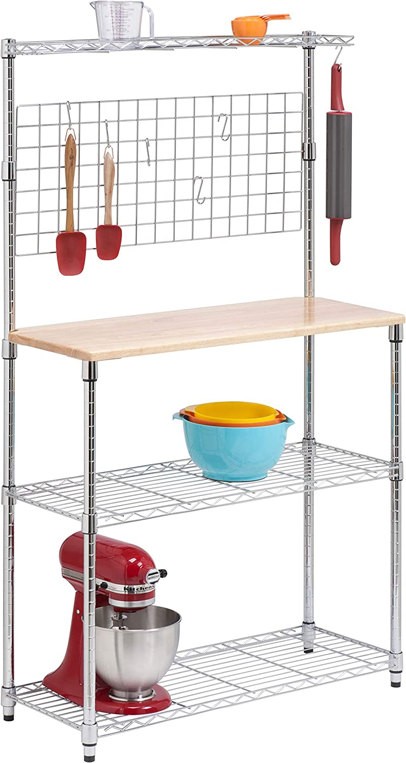 Honey-Can-Do SHF-01608 Bakers Rack with Cutting Board and Storage Shelves