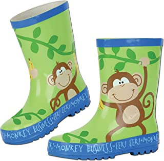 Stephen Joseph Boys 2-7 Monkey Rain Boots, Jungle Green, 9