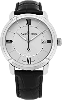 Alexander Heroic Macedon Stainless Steel Mens Dress Watch Black Leather Band - 40mm Analog Silver Face with Second Hand Date and Sapphire Crystal - Classic Swiss Made Quartz Watches for Men A111-02