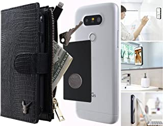 Anti-Gravity Wallet Case 4.7 inches, Luxury [Dual Wallet] Cow Leather [Card & Coin Slot] [Stick on Wall] Detachable Book Wallet Flip Case Cover for All Smart Phones Under 4.7 (Black Snake Skin)