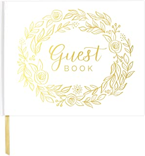 bloom daily planners Wedding Guest Book (120 Pages) Guest Sign-in Book Guest Registry Guestbook Planner - White Cover with Gold Foil, Gilded Edges and Gold Page Marker Hardbound 7