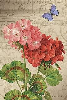 Toland Home Garden Geranium Arrangement 12.5 x 18 Inch Decorative Spring Flower Butterfly Music Garden Flag
