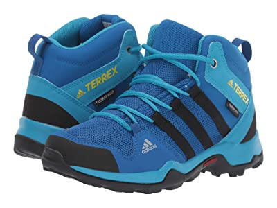 adidas Outdoor Kids Terrex AX2R MID Climaproof(r) (Little Kid/Big Kid) (Blue Beauty/Black/Shock Yellow) Boys Shoes