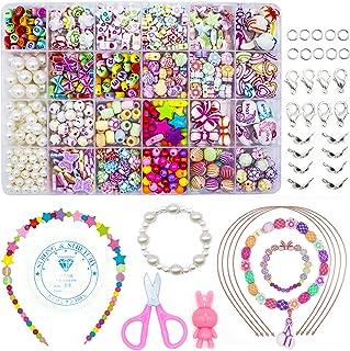 WONDERFORU Barn DIY pärlor för smycken armband halsband strängskapande kit, vänskapsarmband konst hantverk kit för flickor...