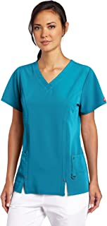 Dickies Womens Scrubs Xtreme Stretch V-Neck Shirt Xtreme Stretch V-Neck Scrubs Shirt Medical Scrubs Shirt - Green - Large