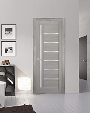 Solid French Door Frosted Glass 32 x 80 inches | Quadro 4088 Grey Ash | Single Regular Panel Frame Trims Handle | Bathroom Be
