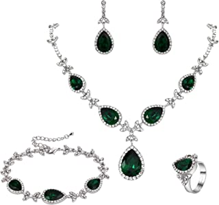 Clearine Women's Wedding Bridal Crystal Floral Leaf Teardrop Y-Necklace Bracelet Earrings Ring Set