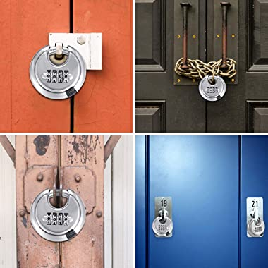 4 Digit Combination Disc Padlock with Hardened Steel Shackle Outdoor Combo Gate Lock for Sheds, Storage Unit, Garage, Fence,T