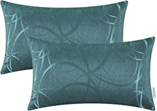 Best CaliTime Pack of 2 Cushion Covers Pillow Cases Shells for Couch Sofa Home Decor Modern Shining & Dull Contrast Circles Rings Geometric 12 X 20 Inches Teal Review