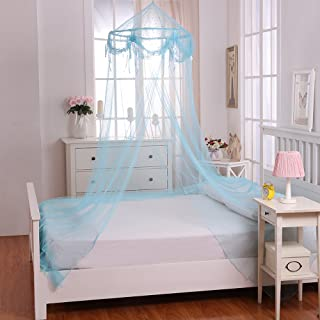 Fantasy Kids Buttons and Bows Kids Collapsible Hoop Sheer Bed Canopy, One Size, Blue