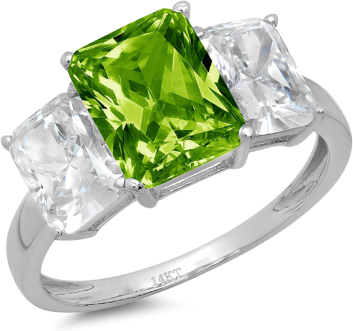 3.94ct Brilliant Emerald Cut 3 Stone Solitaire with Accent Designer Genuine Natural Vivid Green Peridot Gemstone Ideal VVS1 Engagement Promise Statement Anniversary Bridal Wedding ring 14k White Gold