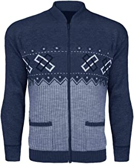 Mens Classic Zip UP Cardigan Argyle Knitwear Granddad Aztec Two Front Pockets Knitted TOP Long Sleeves Warm Winter Front Z...