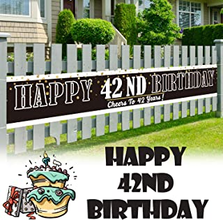 LINGPAR 9.8 x 1.6 ft Large Sign Happy 42nd Birthday Banner - Cheers to 42 Years Old Decor