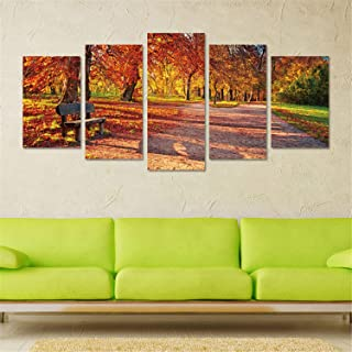 Prabahdak 5 Piece Wall Art Painting Autumn Leaves with Seat Photo Paintings The Picture Landscape Pictures Oil for Home Modern Decoration Print Decor for Living Room Bedroom Decor