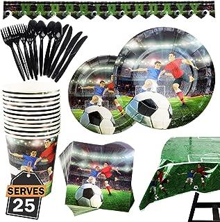 Kompanion Set de 177 Piezas de Fiesta Diseño de Fútbol, Incluye Pancarta, Platos,Vasos, Cubiertos, Servilletas,Mantel, Cucharas, Tenedores y Cuchillos, 25 Personas