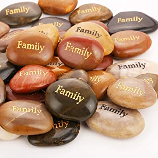 50PCS Family RockImpact Birth Stone Engraved Inspirational Rocks Faith Stones Novelty Gifts Zen Stones Gratitude Rocks Hea...