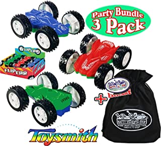 Toysmith Double Sided Stunt Flip Cars (Friction Powered) Party Set Bundle with Exclusive