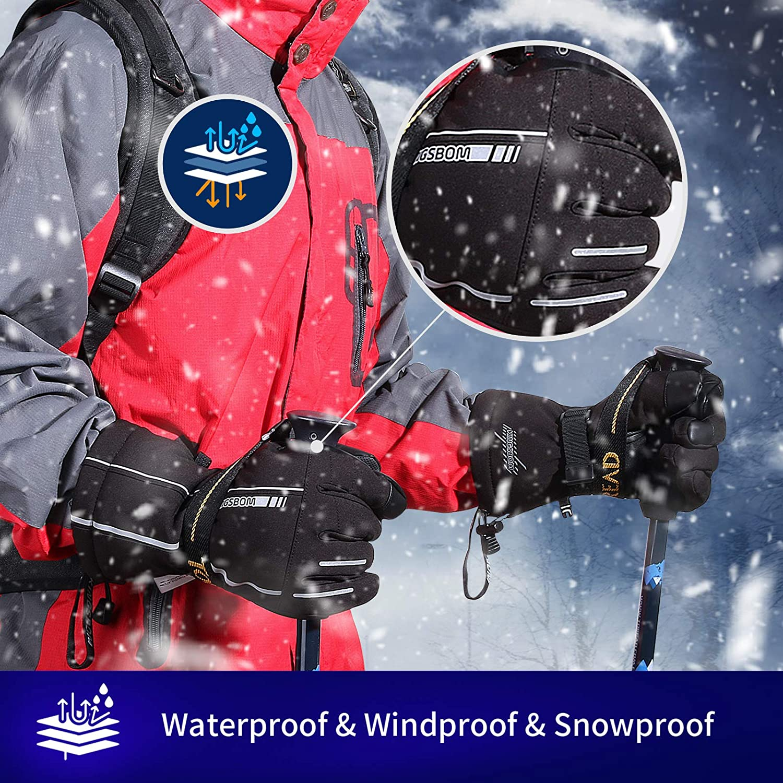 3M Thinsulate Winter Warm Touch Screen Snowboard Gloves for Men /& Women/… KINGSBOM Waterproof Ski /& Snow Gloves