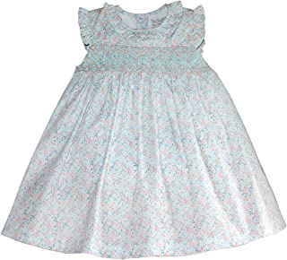 Baby Girls Smocked Dress in Mint & Pink Floral