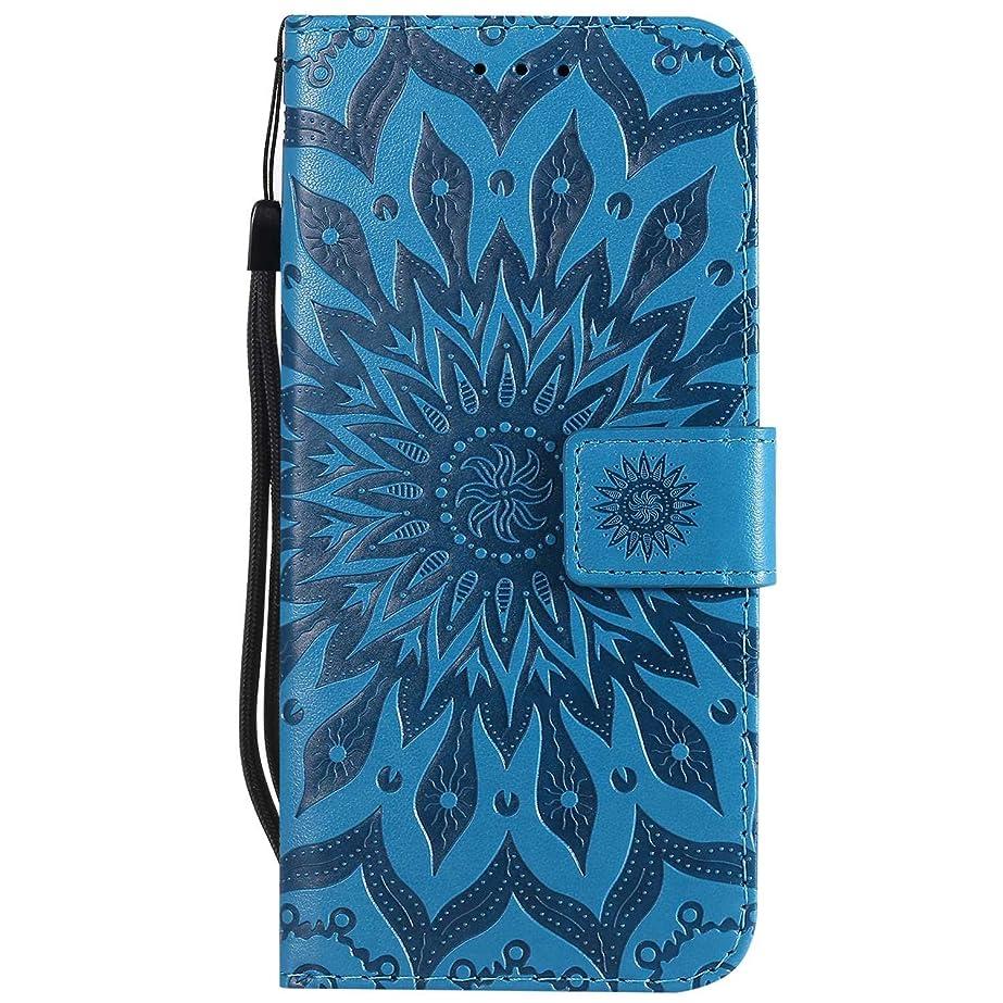 フクロウ法医学価格OMATENTI LG G7 ThinQ ケース, 良質PUレザー 財布 フリップ ケース 耐衝撃性 衝撃吸収 液晶保護 ケース電話カバー 付きカードスロット, リストストラップ, 横置きスタンド機能付き, 青