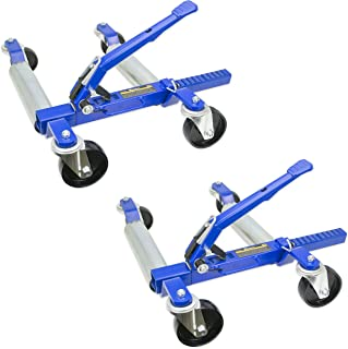 """1500 LB 12.5"""" Wheel Car Positioning Dolly with Ratcheting Foot Pedal (2 Pack)"""