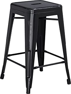 Flash Furniture 24'' High Backless Distressed Black Metal...