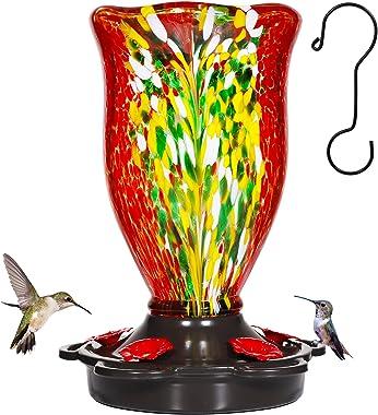 LUJII Hummingbird Feeders for Outdoors, Blown Glass Hummingbird Feeder for Outside Hanging with Ant Moat, Leak Proof & An