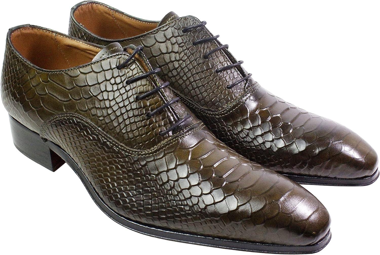 Ivan Troy George Green Olive Men's Dress Shoes/Crocodile Embossed Shoes/Italian Men's Shoes/Men's Leather Dress Shoes/Italian Oxford Shoes/