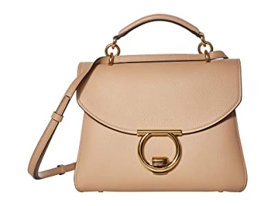 Salvatore Ferragamo Margot Satchel (Almond) Handbags