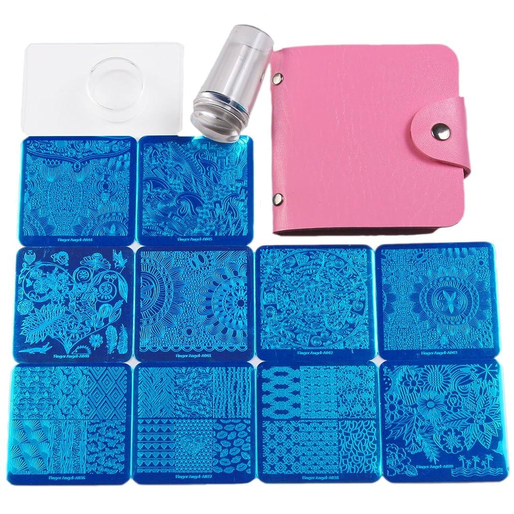突破口クリップ不屈FingerAngel ネイルイメージプレートセット ネイルプレート正方形10枚 透明スタンプ スクレーパー ピンクカードバッグ 自宅でもできるネイルアート