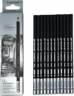 12pcs/Pack Artist Charcoal Pencils - Black Color Soft Medium Hard - White Pastel Color - Black Charcoal White Pastel Drawing Pencils (Medium)